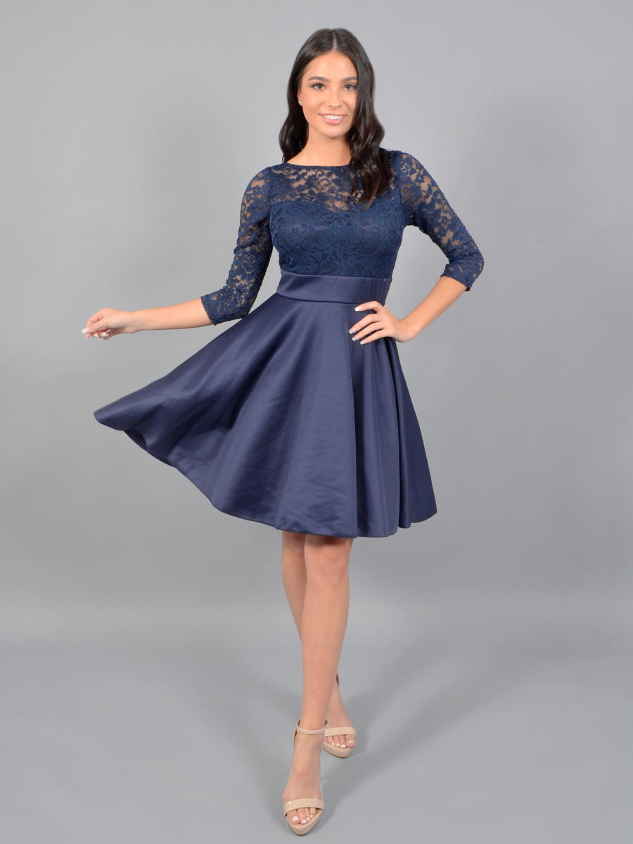 JBLA INC - Long Sleeve Satin Dress-Lace Bodice