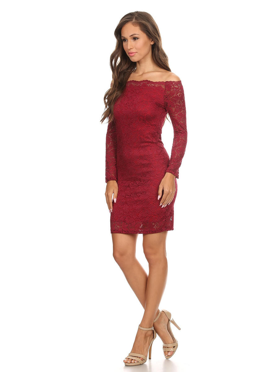 JBLA INC - Long Sleeve Metallic Lace Dress