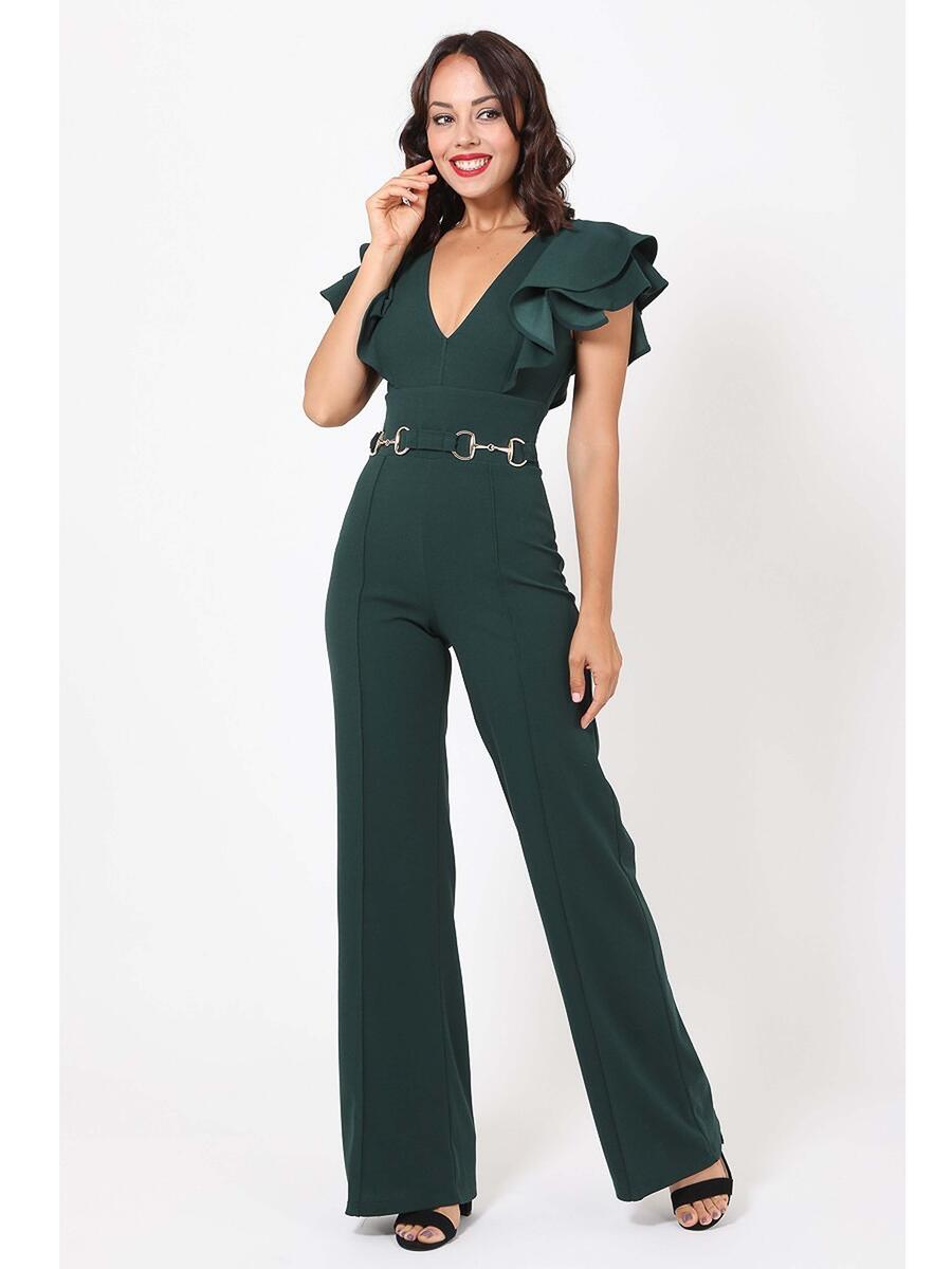 JBLA INC - Crepe Jumpsuit Ruffe Short Sleeve