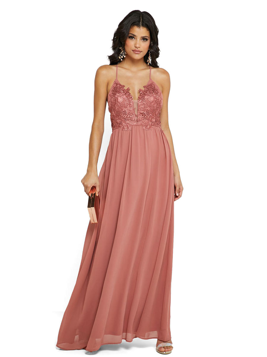 JBLA INC - Chiffon Gown Embroidered Bodice
