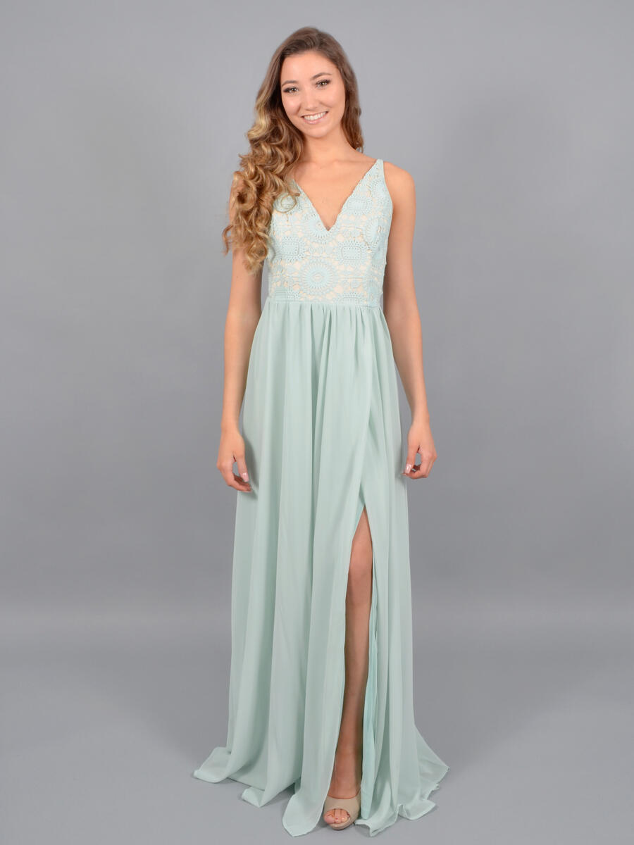JBLA INC - Embroidered Bodice Flyaway Gown