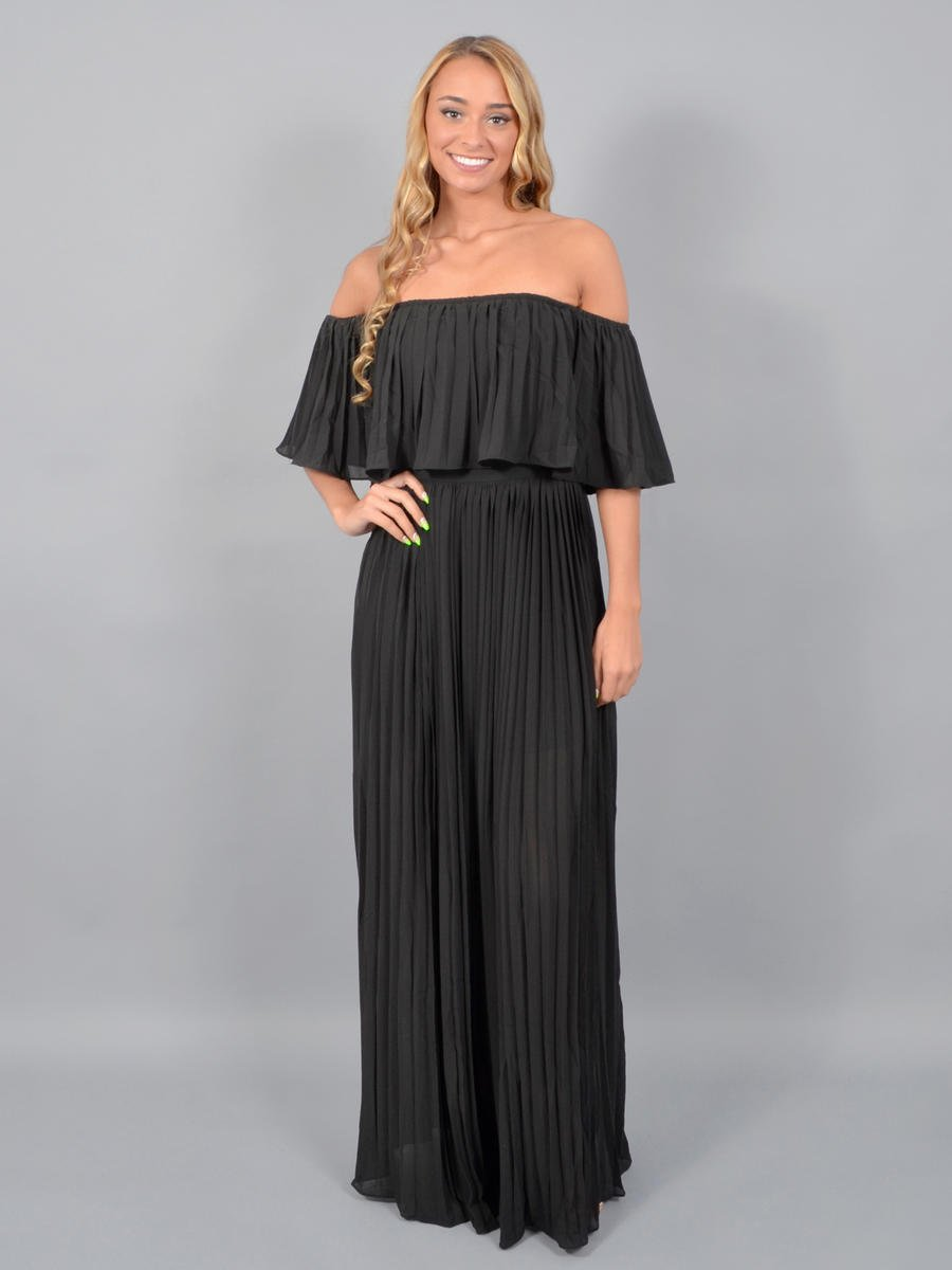JBLA INC - Chiffon Off Shoulder Pleat Gown