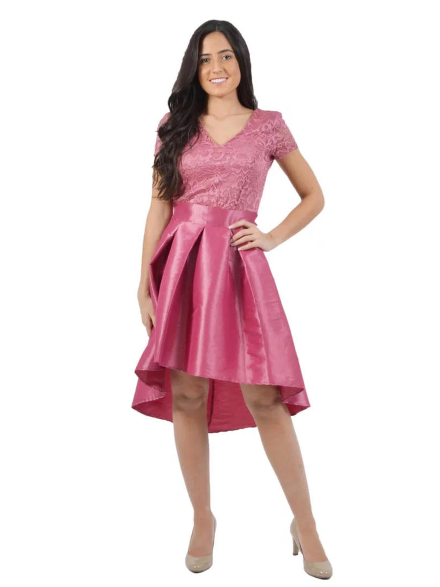 JBLA INC - Lace And Taffeta Tie Back High Low Dress