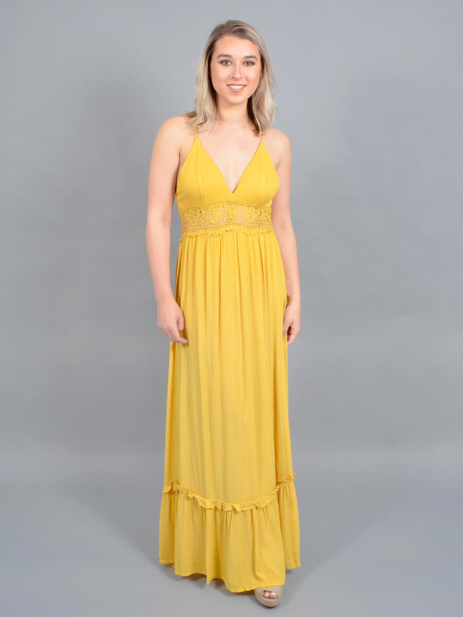 JBLA INC - Crepe Gown Embroidered Waist Halter Neckline