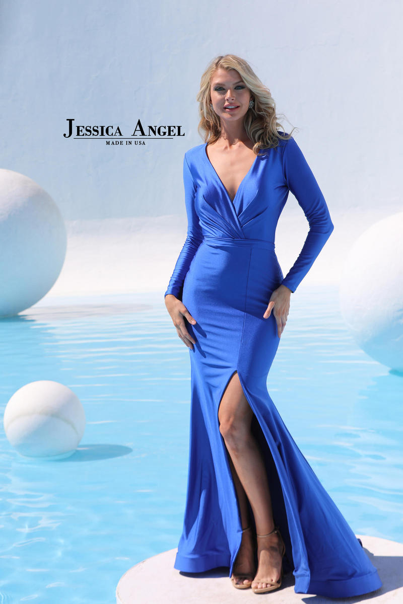 Jessica Angel - Long Sleeve Jersey Gown Side Slit