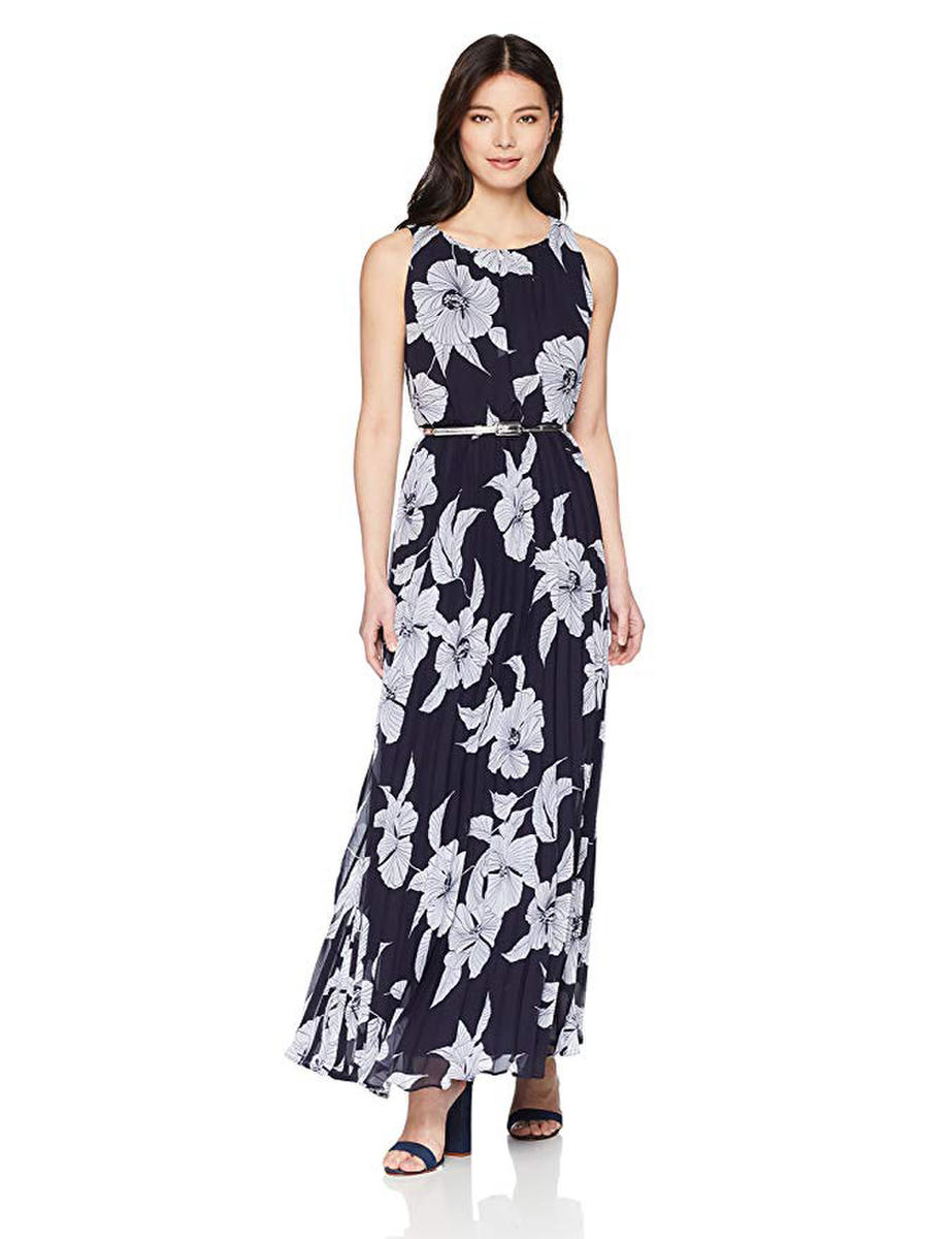 Print Pleat Gown