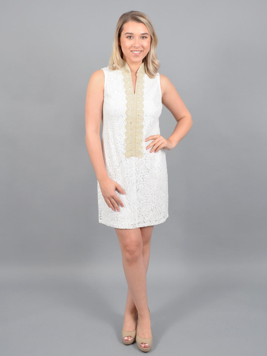 JESSICA HOWARD - Lace Dress-Metallic Embroidered Bodice