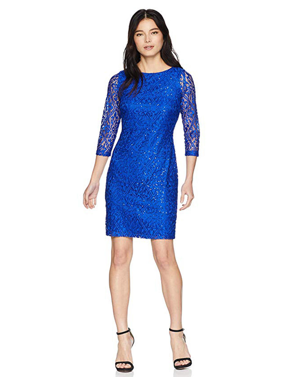 JESSICA HOWARD - Long Sleeve Metallic Lace Dress JH9M5459