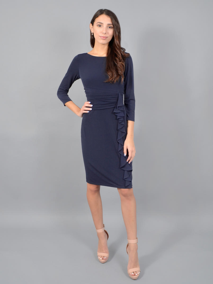 JESSICA HOWARD - Long Sleeve Lycra Dress-Pleat Waist