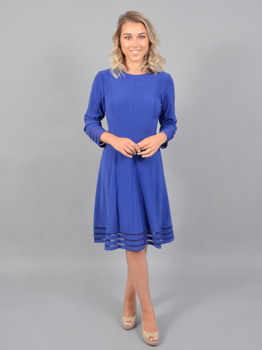 JESSICA HOWARD - Long Sleeve Lycra Dress-Sheer Hem
