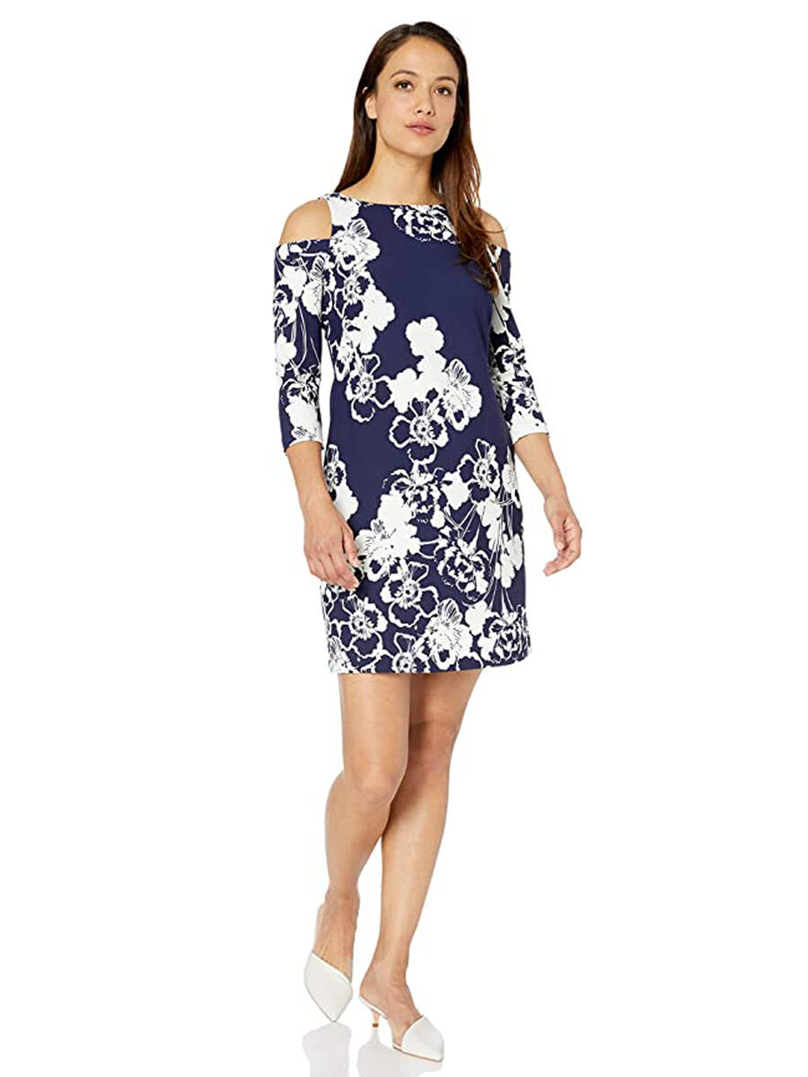 JESSICA HOWARD - Open Long Sleeve Print Dress