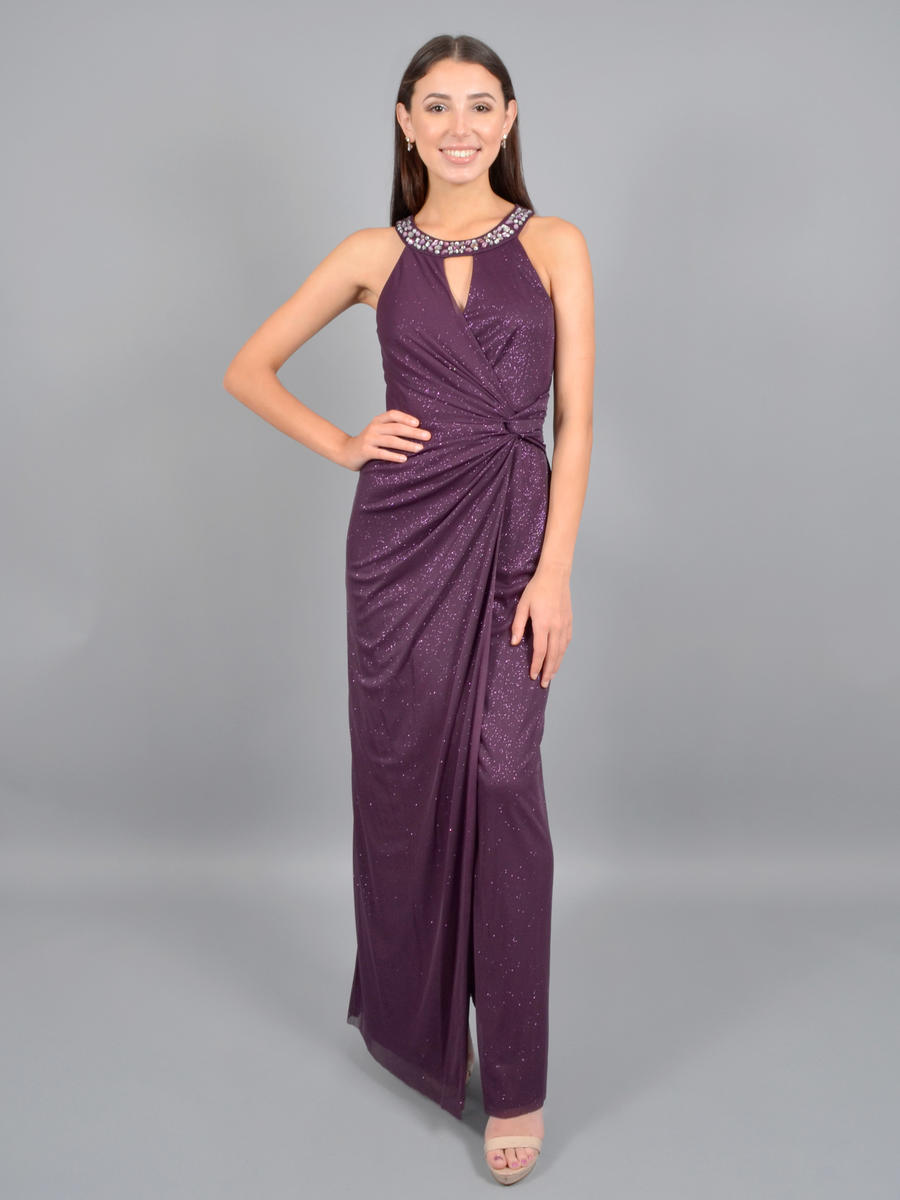 JESSICA HOWARD - Metallic Gown-Bead Neck