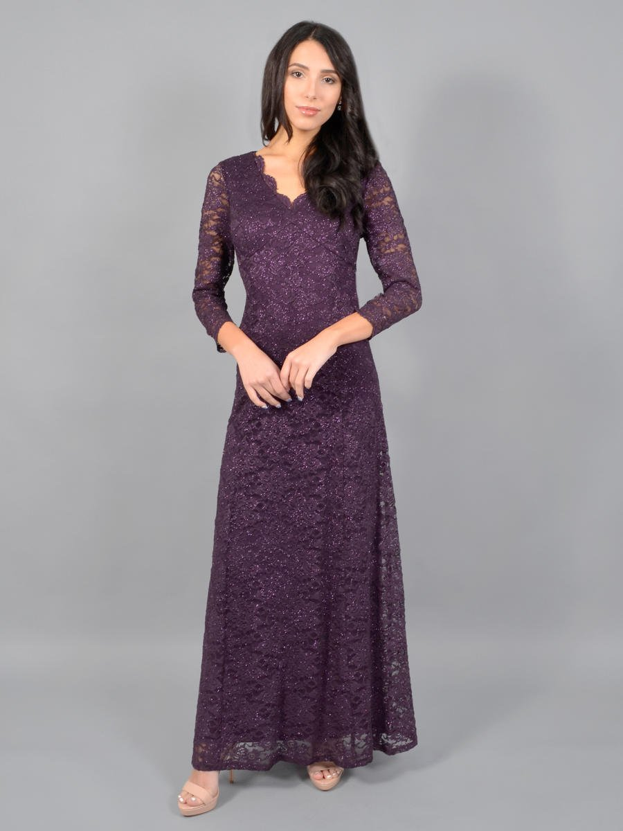 JESSICA HOWARD - Long Sleeve Metallic Lace Gown
