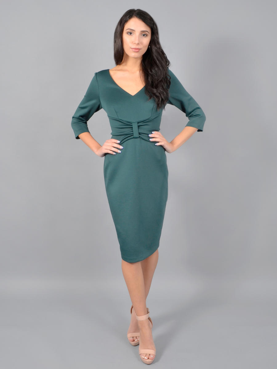 JESSICA HOWARD - Long Sleeve Wrap Waist Satin Dress