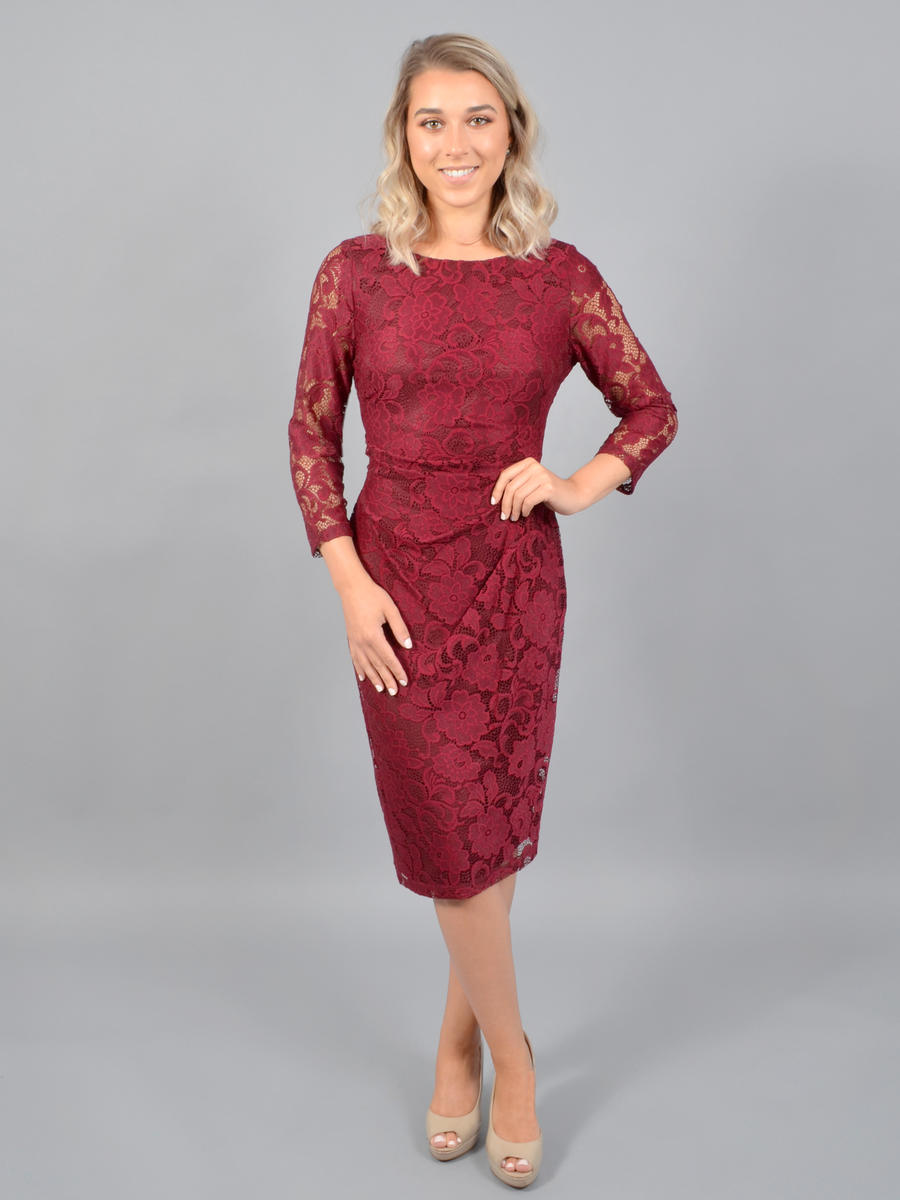 JESSICA HOWARD - Long Sleeve Lace Wrap Dress