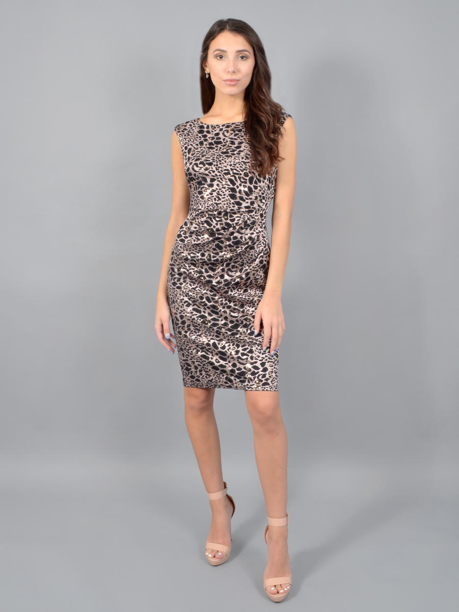 JESSICA HOWARD - Lace Print Metallic Dress
