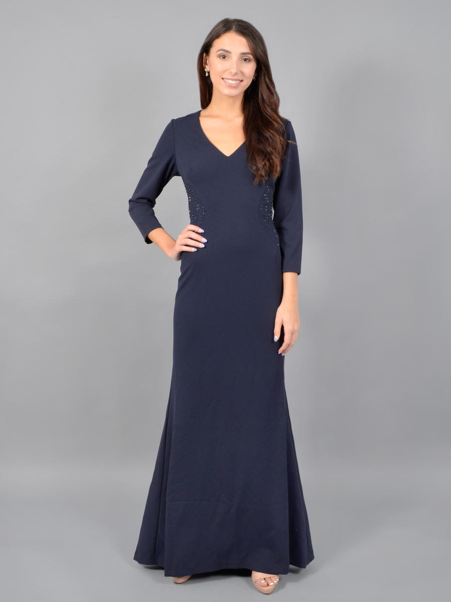 JESSICA HOWARD - Long Sleeve Gown-Bead Waist