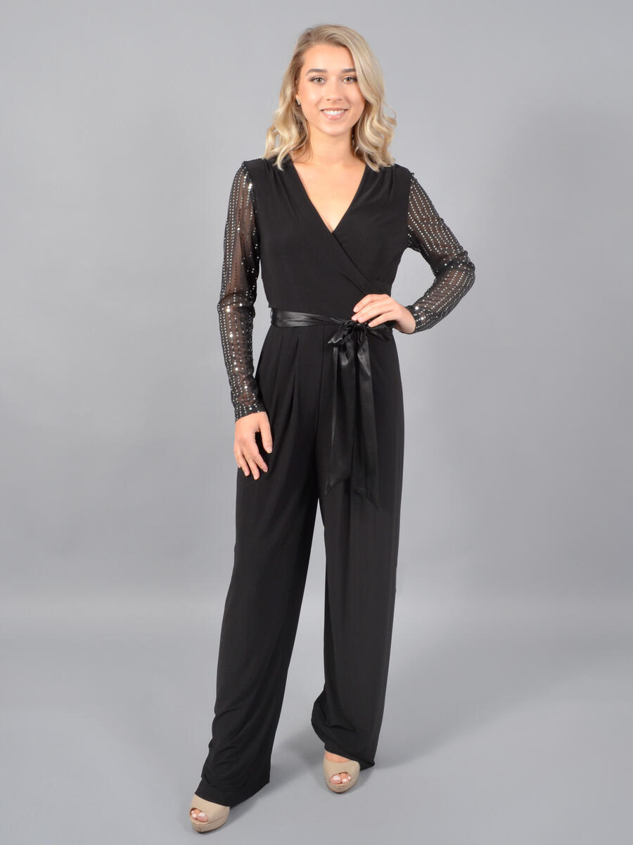 JESSICA HOWARD - Lycra Jumpsuit-Sheer Metallic Sleeves