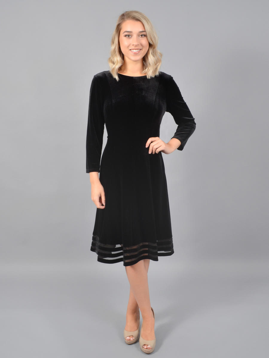 JESSICA HOWARD - Long Sleeve Velvet Dress-Sheer Hem