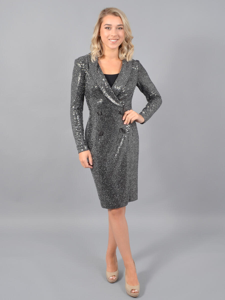 JESSICA HOWARD - Long Sleeve Metallic Tuxedo Dress