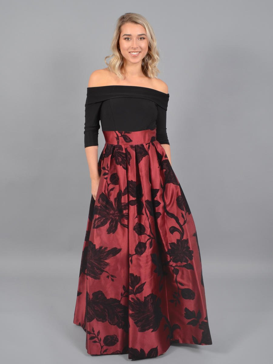 JESSICA HOWARD - Long Sleeve Off Sholder Brocade Gown