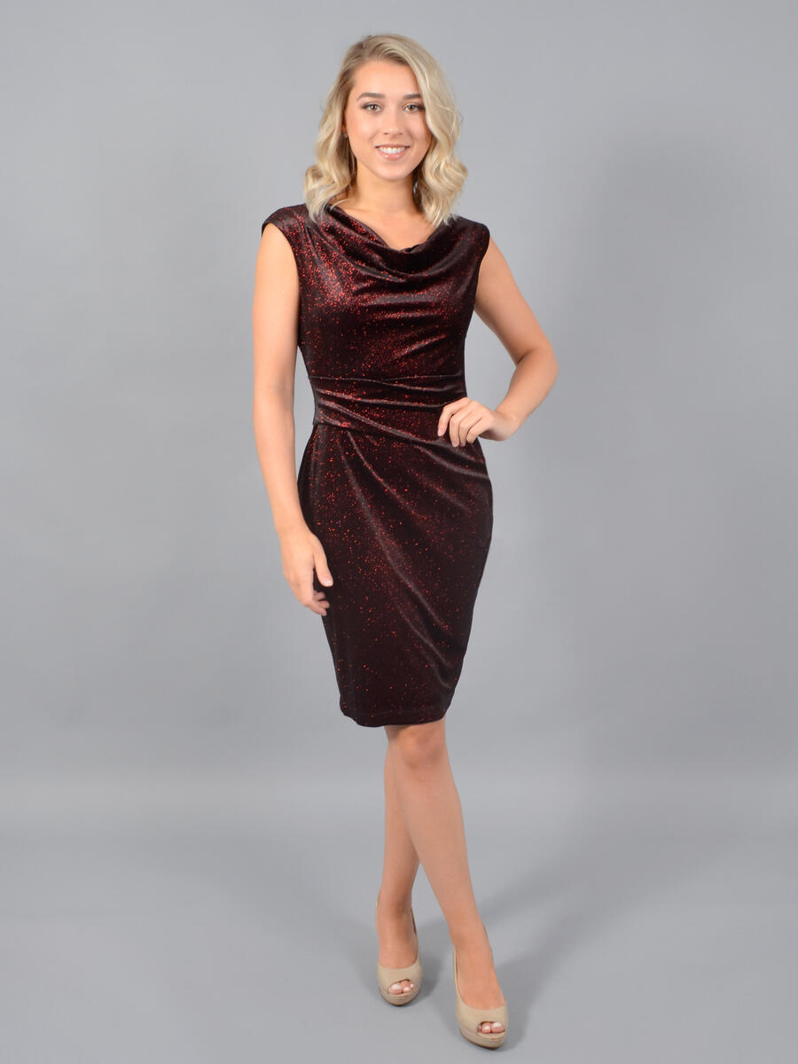 JESSICA HOWARD - Metallic Velvet Dress-Draped Back