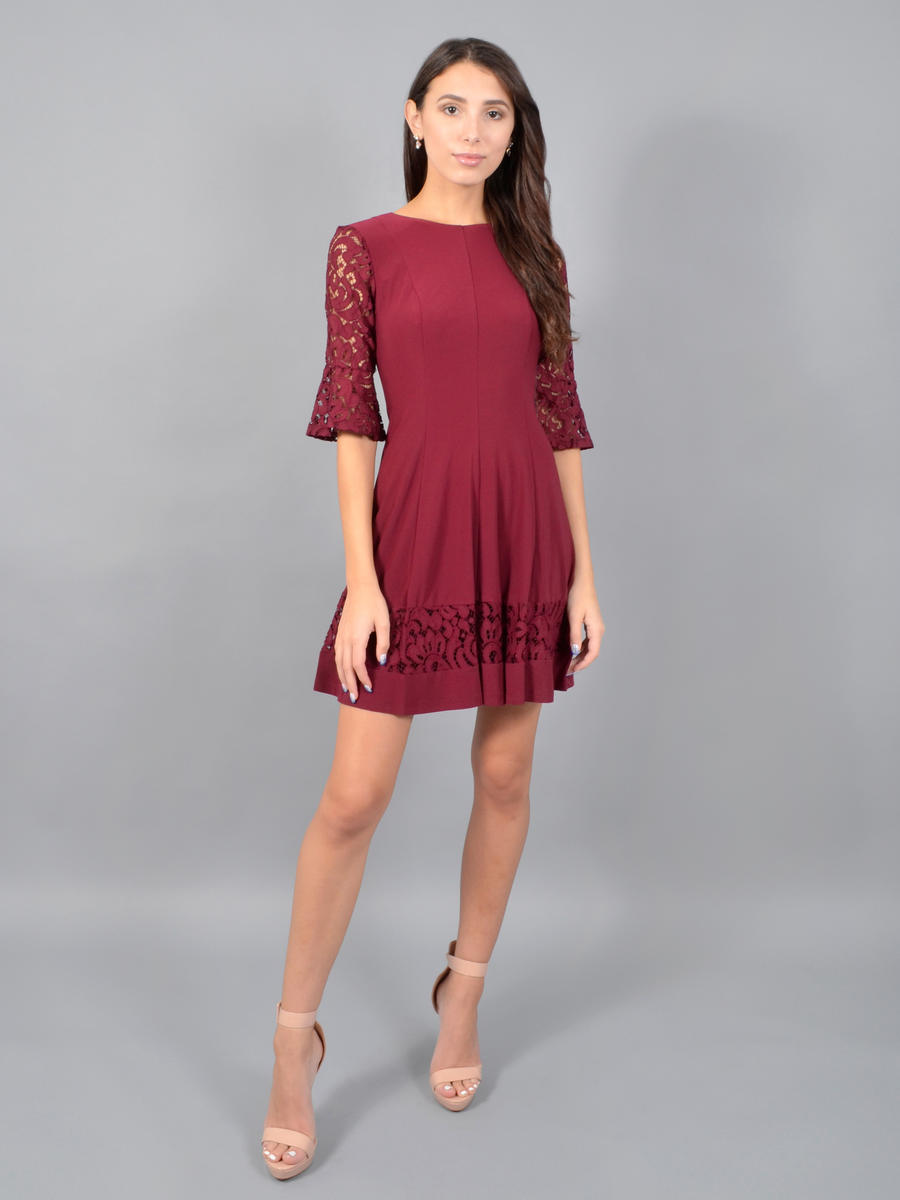JESSICA HOWARD - Long Sleeve Lycra Dress-Lace Trim