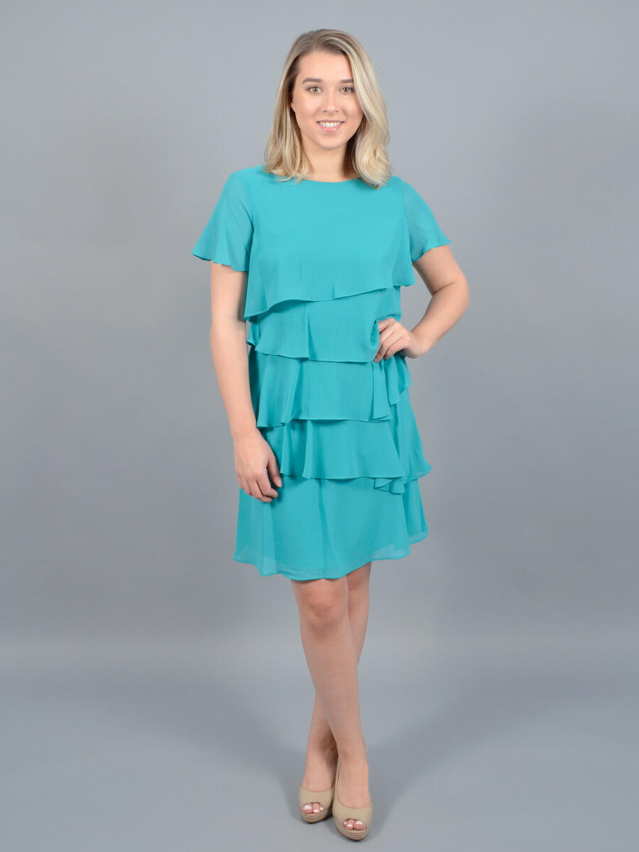 JESSICA HOWARD - Short Sleeve Chiffon Tier Dress