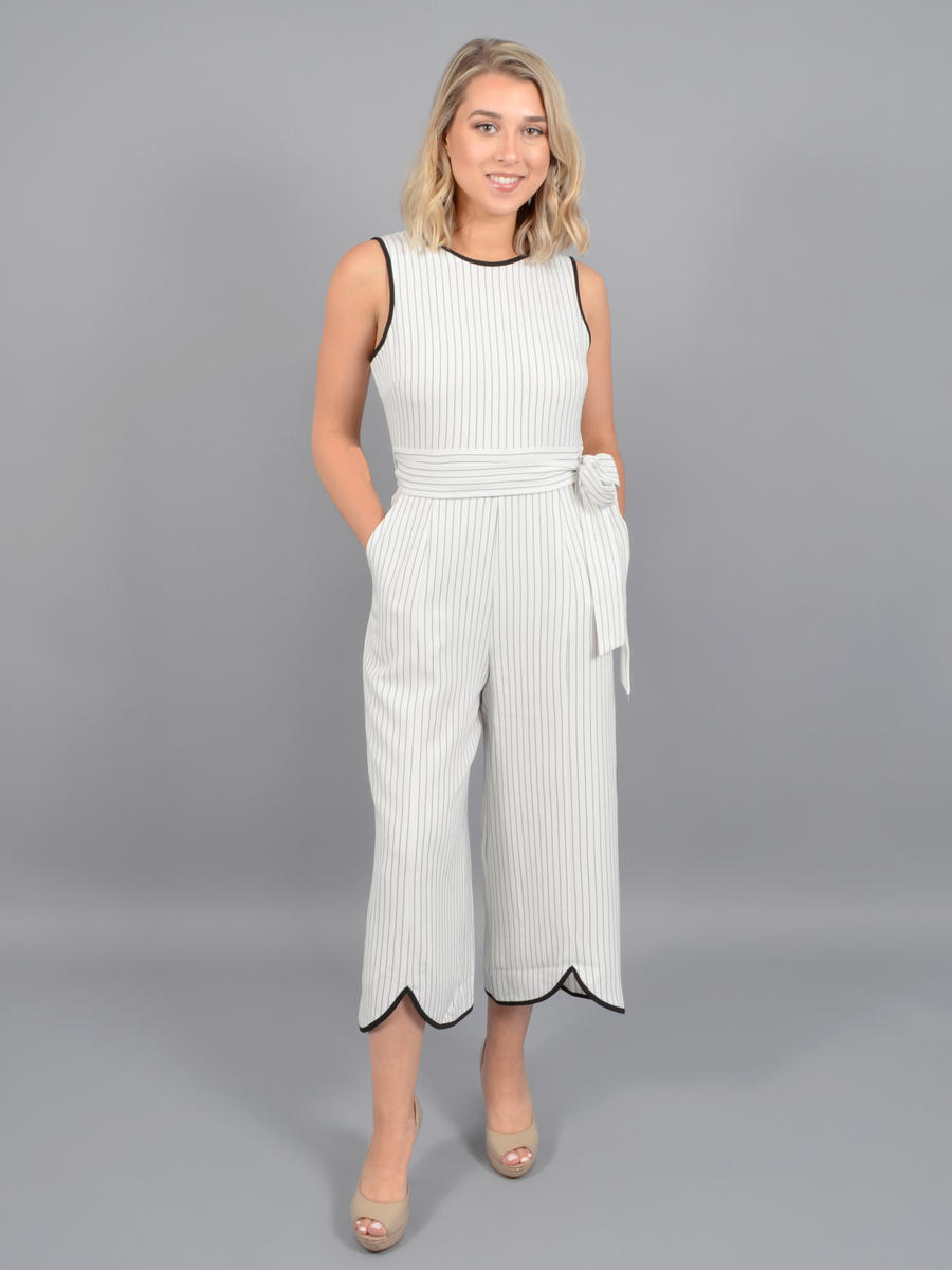 JESSICA HOWARD - Stripe Jumpsuit-Belt