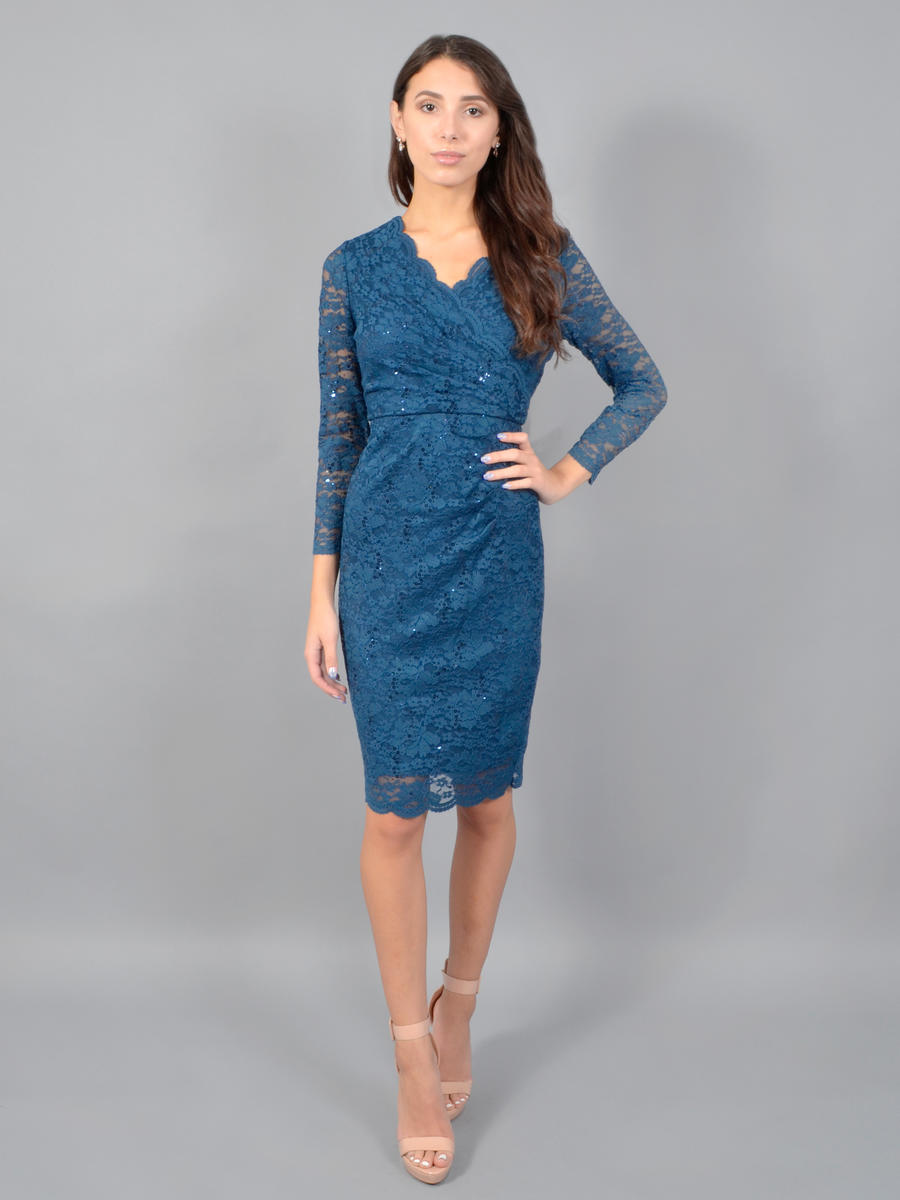 JESSICA HOWARD - Long Sleeve Metallic Lace Wrap Dress