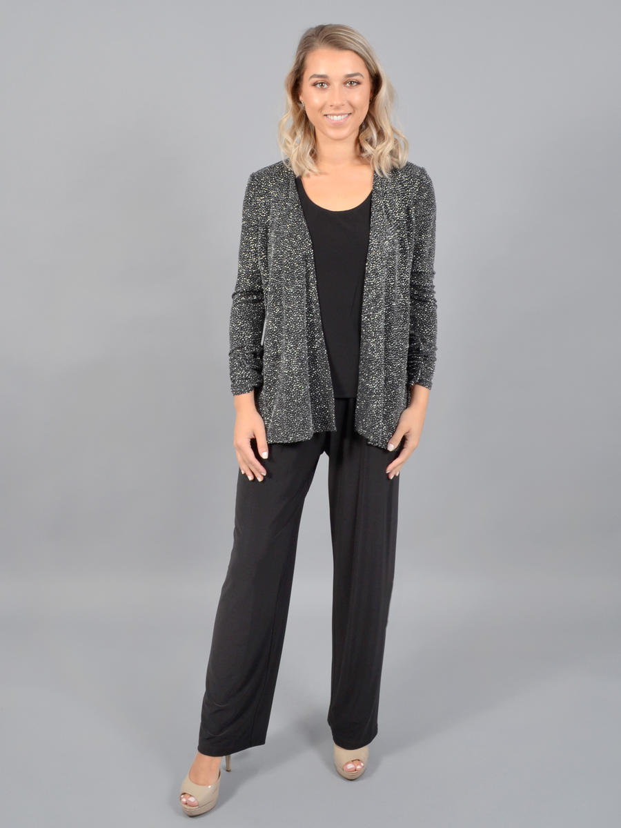 JESSICA HOWARD - 3 Piece Pant/Camisole/Metallic Jacket