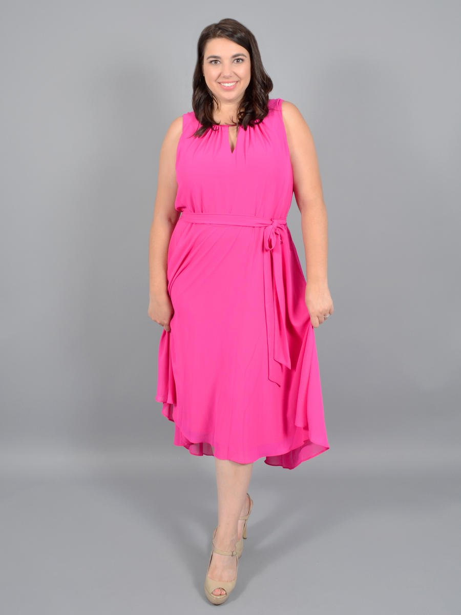 JESSICA HOWARD - Chiffon High-Low Dress w/ Belt