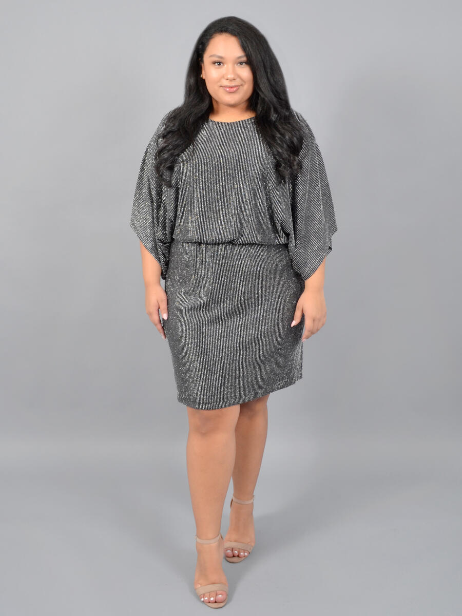 JESSICA HOWARD - LOng Sleeve Metallic Blouson Dress