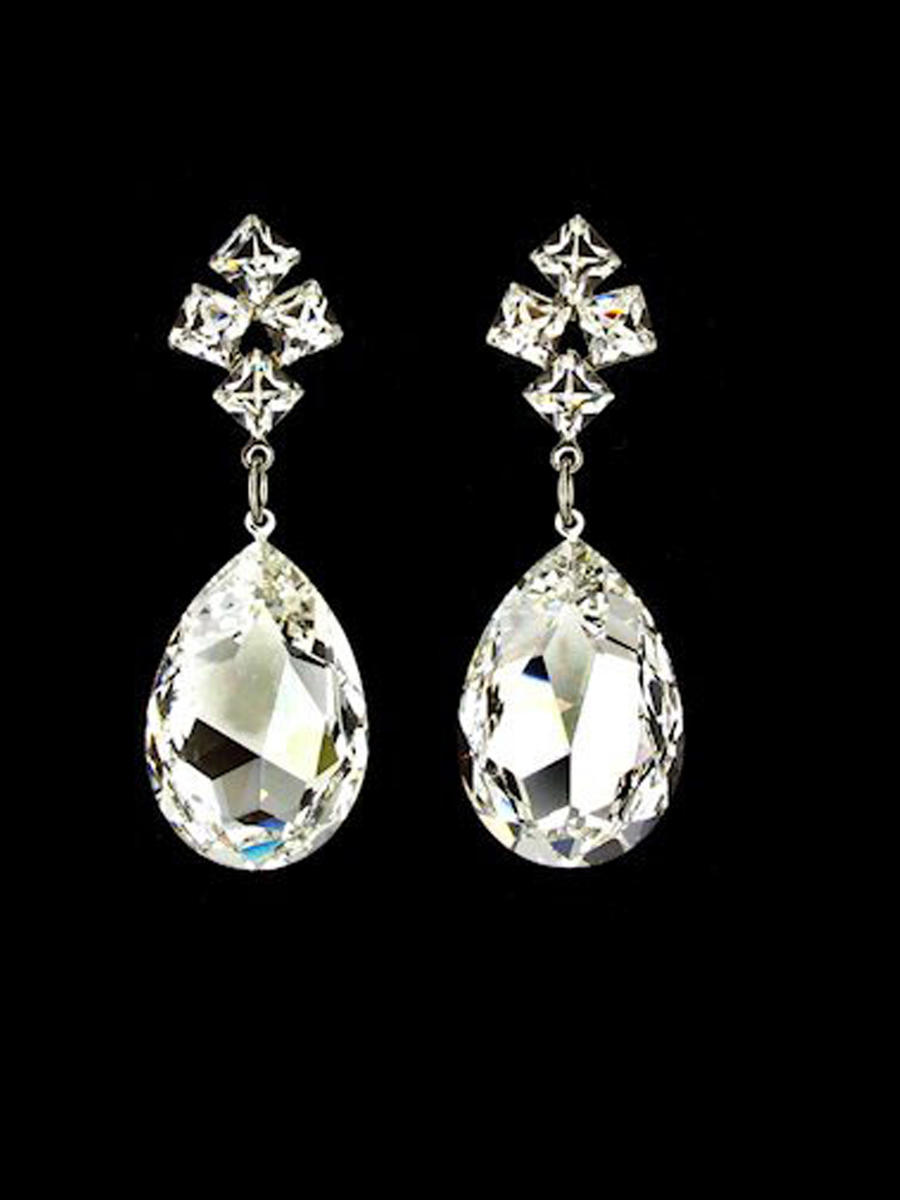JIM BALL DESIGN - Four Square Top Pear Drop Swarovski Earring