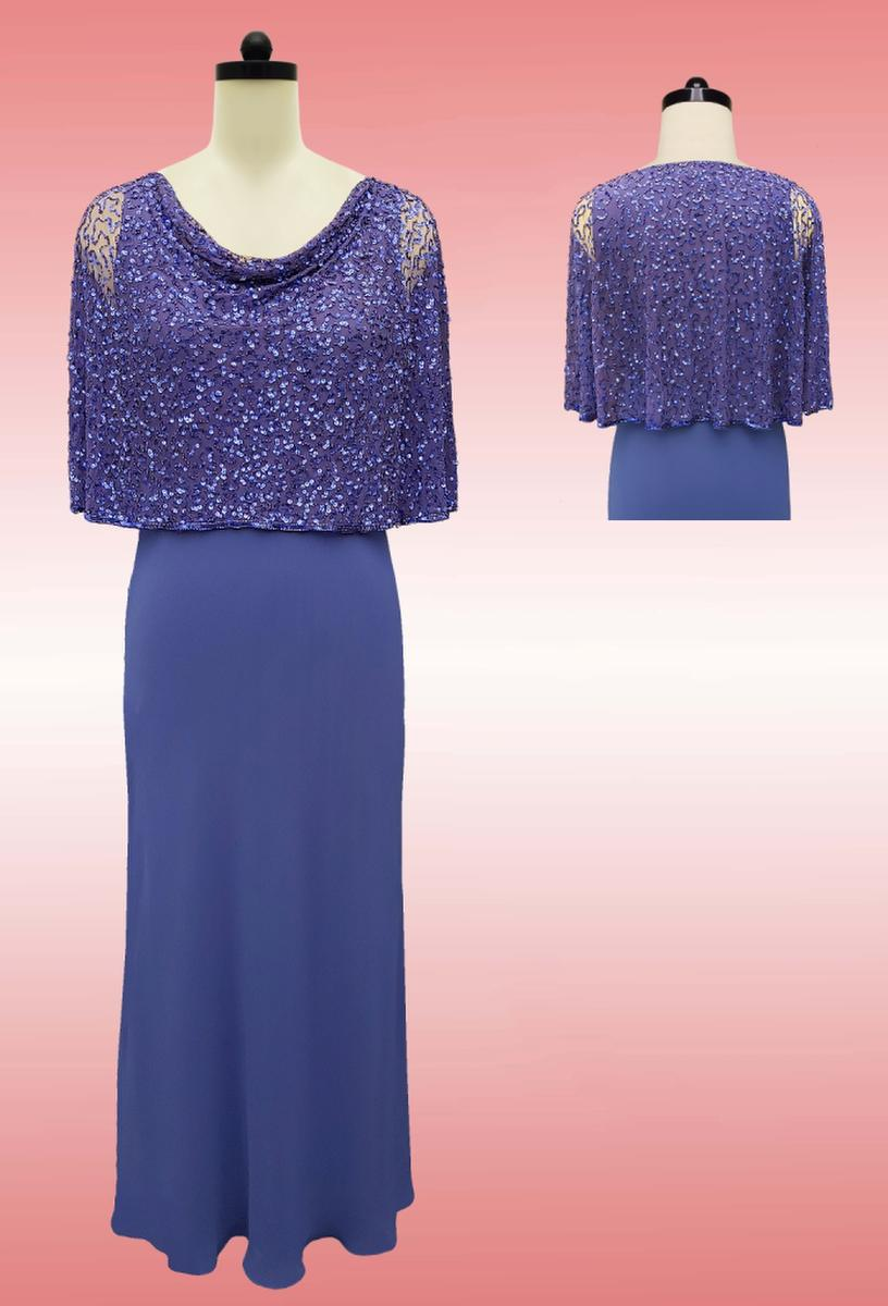 JKARA - Jersey Beaded Long Sleeve Gown