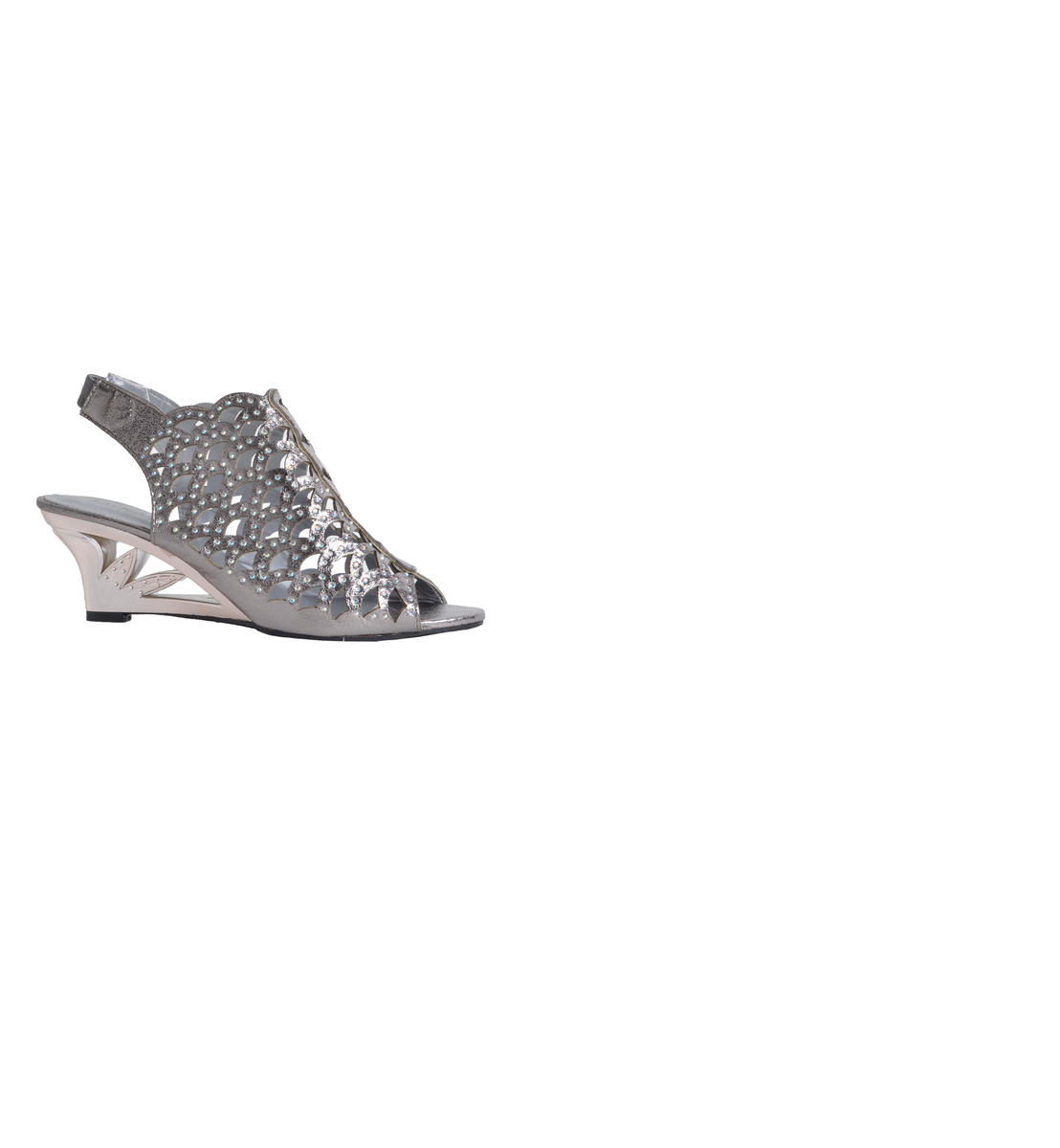 JOHN FASHION INTERNATIONAL  INC - Wedge Rhinestone Perforated Shoe