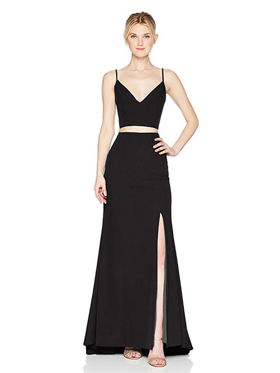 JUMP - Solid V-Neck Two-Piece Jersey Gown