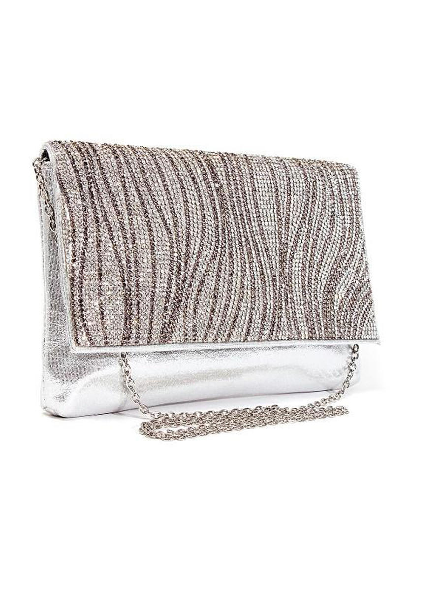 Lady Couture - Metallic Rhinestone Clutch Bag