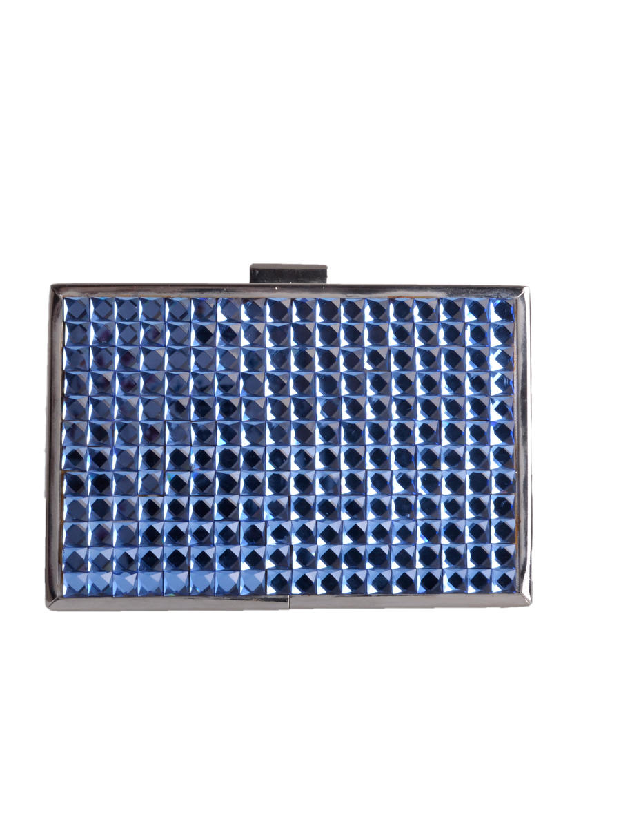 Lady Couture - Rhinestone Tile Metal Case Clutch