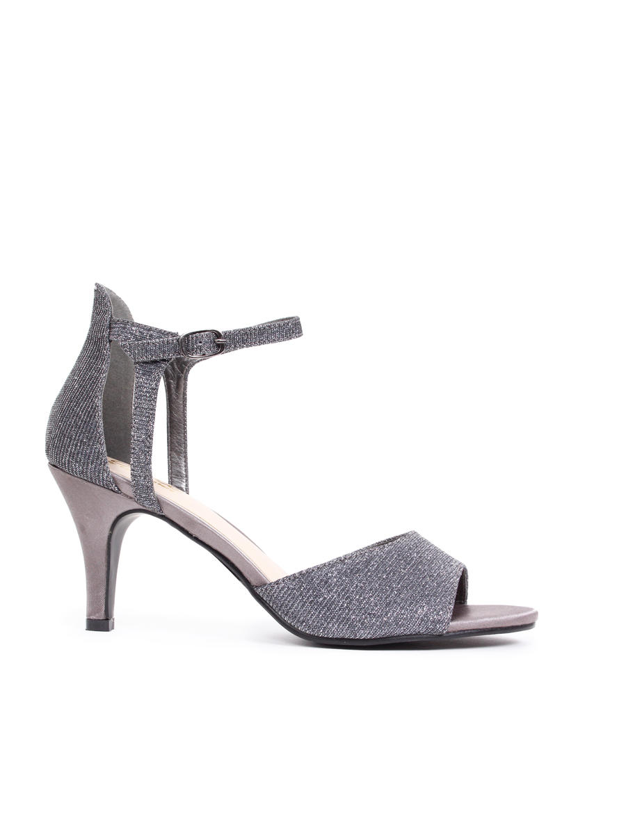 LADY COUTURE - Metallic Open Toe Ankle Strap Pump