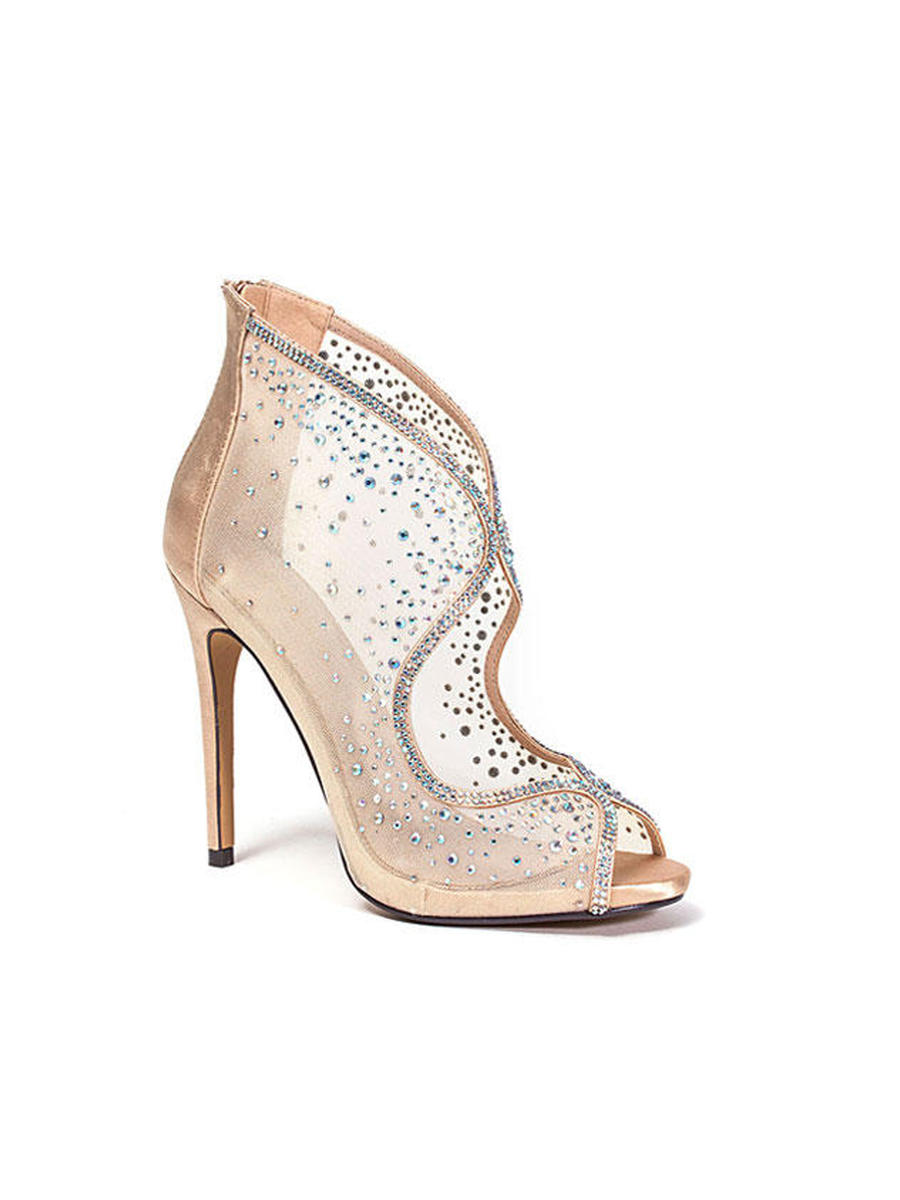 Lady Couture - Embellished Mesh Cutout Bootie