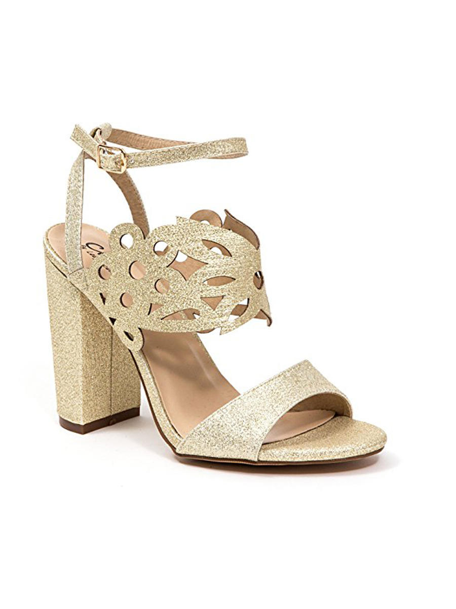 Lady Couture - High Heel Perforated Ankle Strap  Glitter