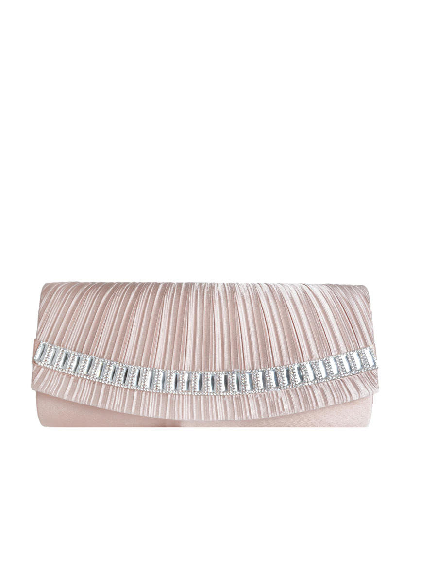 Long Clutch Pleated With Rhinestones