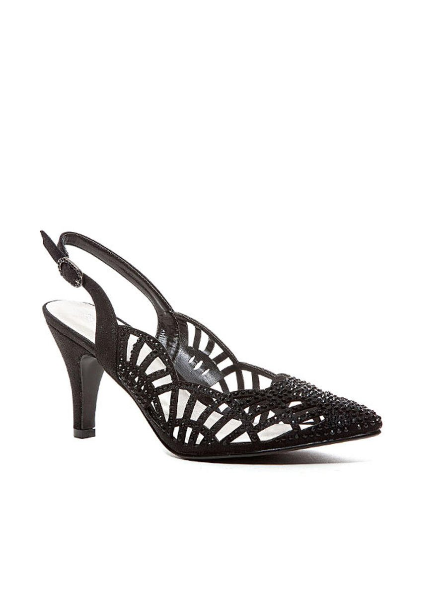 Lady Couture - Embellished Mid-Heel Cutout Pump