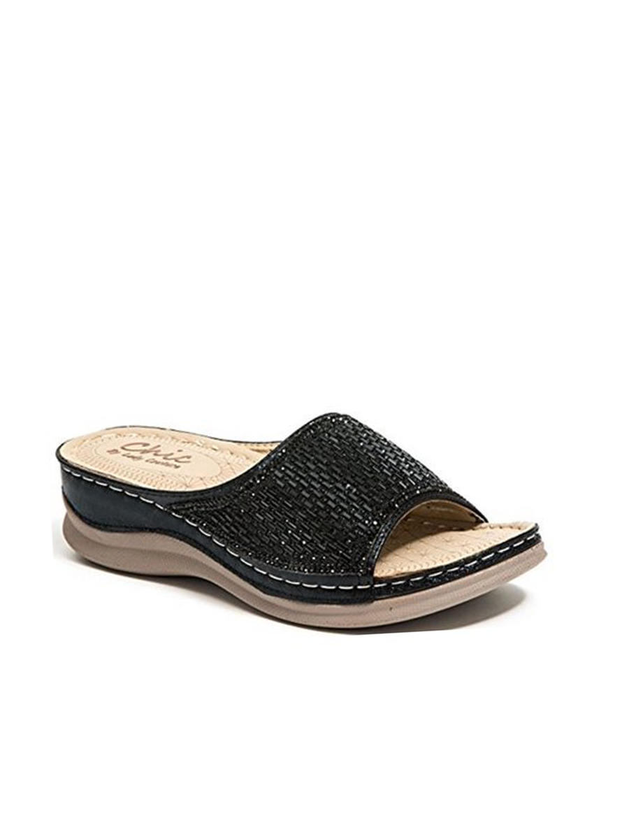 Lady Couture - Embellished Unit Open Toe Slide