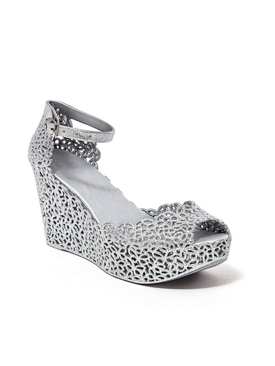 Lady Couture - Lasercut Peep-Toe Ankle Strap Wedge