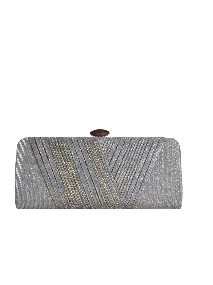 Shirred Glitter Fabric Clutch