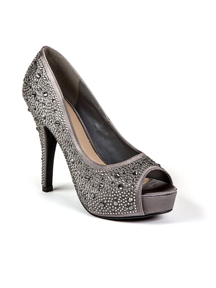 Lady Couture - Embellished Metallic Peep-Toe Pump