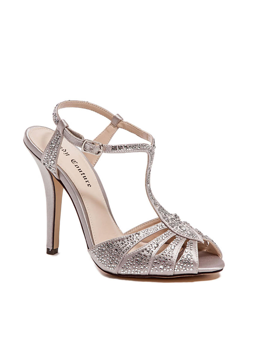 Lady Couture - Embellished Ankle Strap Peep-Toe Pump