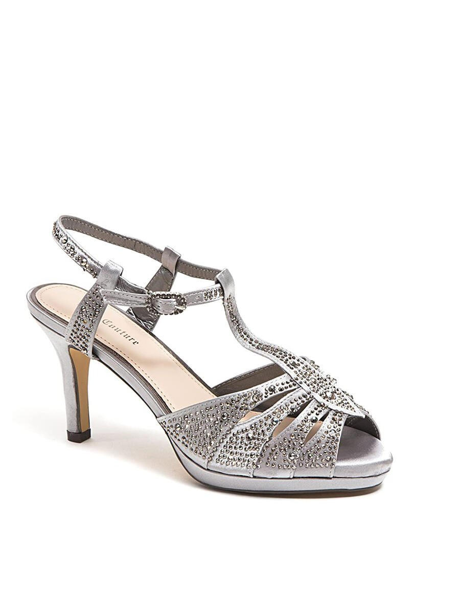 Lady Couture - Embellished Peep-Toe T-Strap Pump